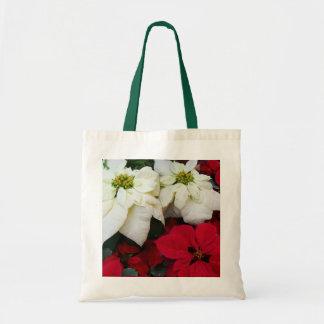 Bolsa Tote Feriado branco e vermelho do Natal das poinsétias
