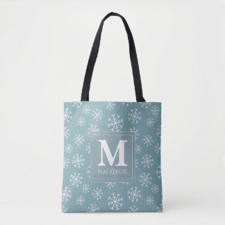 Bolsa Tote Feriado Monogrammed dos flocos de neve do inverno