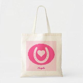 Bolsa Tote ferradura e coração cor-de-rosa
