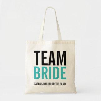Bolsa Tote Festa de solteira de turquesa da noiva da equipe