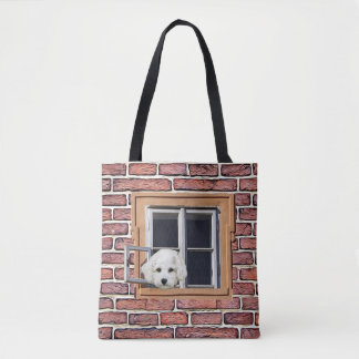 Bolsa Tote Filhote de cachorro engraçado e gatinho que olham