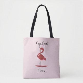 Bolsa Tote Flamingo - coral Florida do cabo