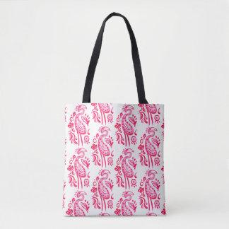 Bolsa Tote Flamingo de Paisley do rosa quente