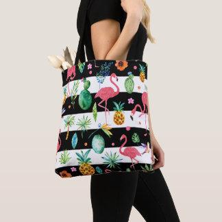 Bolsa Tote Flamingos tropicais do rosa do teste padrão &