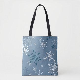 Bolsa Tote Flocos de neve em um fundo azul