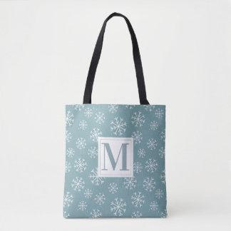 Bolsa Tote Flocos de neve Monogrammed do inverno