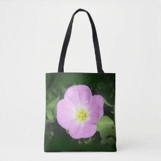 Bolsa Tote Flor cor-de-rosa da prímula de noite