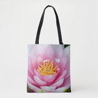 Bolsa Tote Flor cor-de-rosa do lírio de água