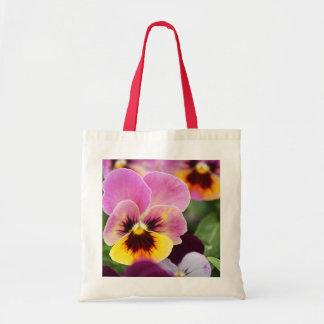 Bolsa Tote Flor cor-de-rosa e amarela colorida do amor