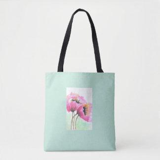 Bolsa Tote Flor cor-de-rosa pintado à mão