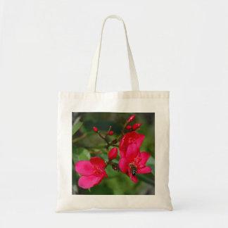 Bolsa Tote Flor cor-de-rosa vibrante com abelha do mel