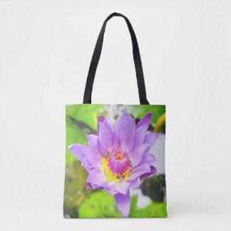 Bolsa Tote Flor de lótus roxa com sacola das abelhas
