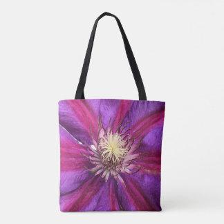 Bolsa Tote Flor do Clematis roxo