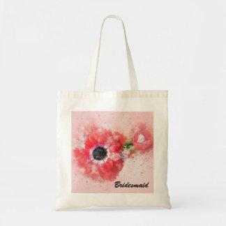 Bolsa Tote Flor em botão cor-de-rosa w/Flower da aguarela