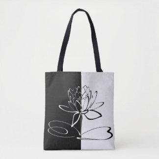 Bolsa Tote Flor preta de Yin Yang Lotus branco