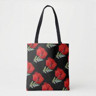 Bolsa Tote Flor vermelha da papoila do vintage toda sobre -