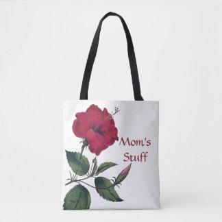 Bolsa Tote Flor vermelha no estilo botânico