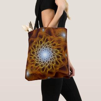 Bolsa Tote Floral ambarino de Brown do ouro