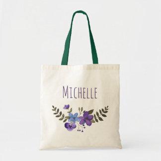Bolsa Tote Floral azul roxo com nome