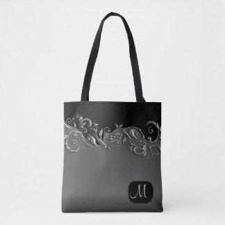 Bolsa Tote Floral de prata metálico do monograma em cinzas