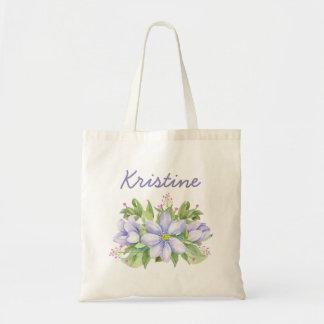 Bolsa Tote Floral roxo da aguarela sonhadora