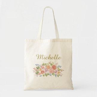 Bolsa Tote Floral simples com nome