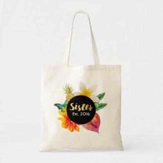 Bolsa Tote Floral tropical da irmã do roteiro do ouro