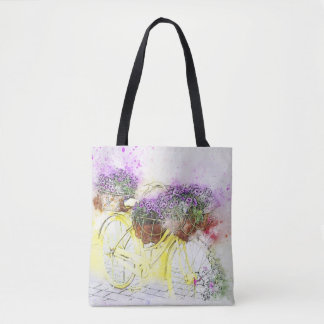 Bolsa Tote Flores amarelas da bicicleta w/Purple da aguarela