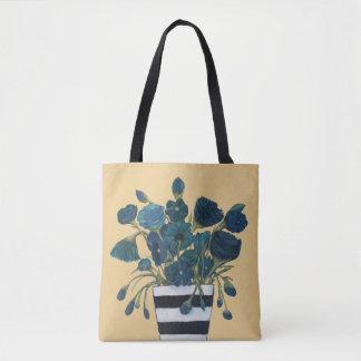 Bolsa Tote Flores azuis com belas artes listradas do vaso