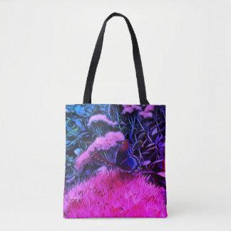 Bolsa Tote Flores azuis cor-de-rosa de néon com borboleta de