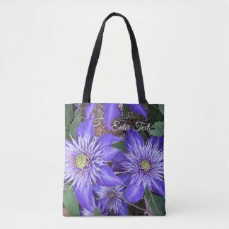 Bolsa Tote Flores azuis do Clematis