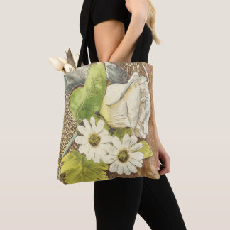 Bolsa Tote Flores brancas com serapilheira na madeira