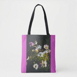 Bolsa Tote Flores brancas e roxas da anêmona