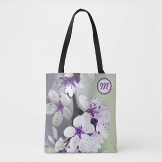 Bolsa Tote Flores brancas e roxas Monogrammed