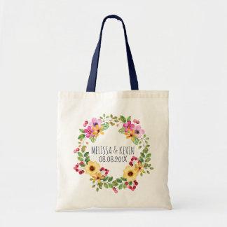 Bolsa Tote Flores coloridas do amarelo do rosa da grinalda &