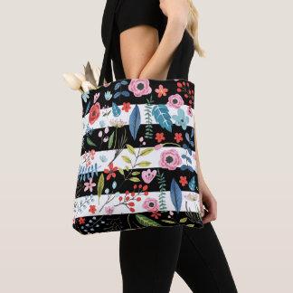 Bolsa Tote Flores coloridas sobre listras pretas & brancas