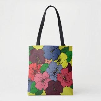 Bolsa Tote Flores coloridos do hibiscus