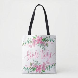Bolsa Tote Flores cor-de-rosa do amor da aguarela que Wedding