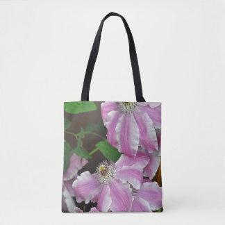 Bolsa Tote Flores cor-de-rosa e brancas do clematis