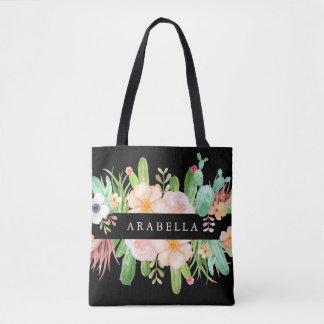 Bolsa Tote Flores da meia-noite do Succulent