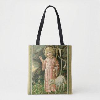 Bolsa Tote Flores da páscoa do cordeiro da cruz da criança do