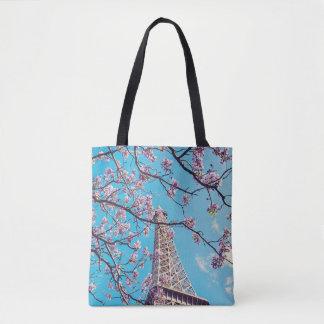 Bolsa Tote Flores da torre Eiffel de Paris na sacola da