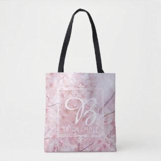 Bolsa Tote Flores de cerejeira rosas pálido da dama de honra