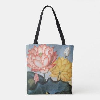 Bolsa Tote Flores de Lotus do vintage com folhas em uma lagoa