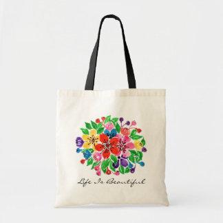 Bolsa Tote Flores do arco-íris da aguarela