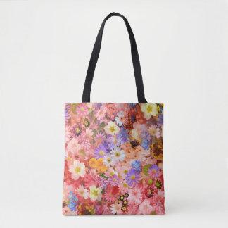 Bolsa Tote Flores do primavera cor-de-rosa e vermelho