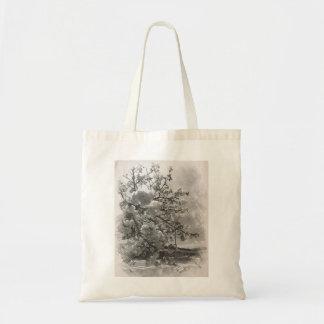 Bolsa Tote Flores do primavera em preto e branco