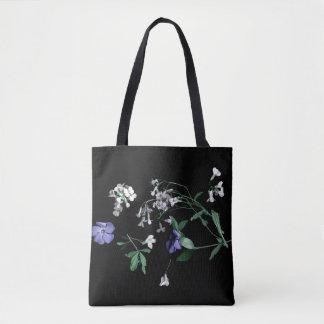 Bolsa Tote Flores do primavera na sacola preta