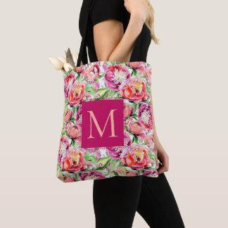 Bolsa Tote Flores do rosa e do pêssego da aguarela