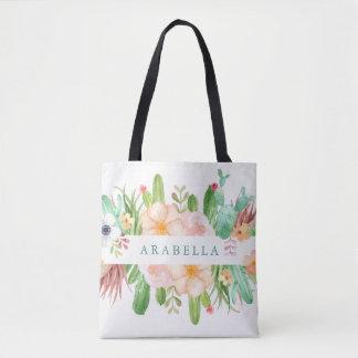 Bolsa Tote Flores do Succulent da aguarela no branco
